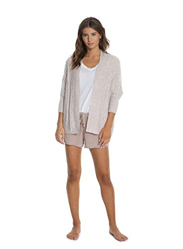 Barefoot Dreams CozyChic Lite Cable Shrug,Women Long Sleeve Cardi, Open Front Oversized - Cable Shrug