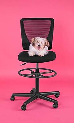 Flash Furniture Ergonomic Mid-Back Mesh Drafting Chair with Black Fabric Seat