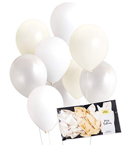 - White Cream and Pearl Mix Latex Party Decoration Balloon Thick 30pc 10 & 12 inches Wedding, Bridal, Baby Shower, Hen, Birthday Party, Photobooth, Backdrop, Balloon Arch - by TOKYO SATURDAY (White 30)