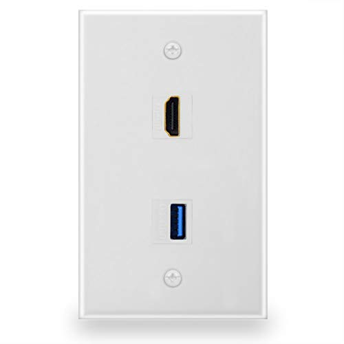 BATIGE HDMI And USB 3.0 Keystone Wall Plate Single GANG USB 3.0 HDMI Wall Outlet Mount Socket Face Plate Cover - White