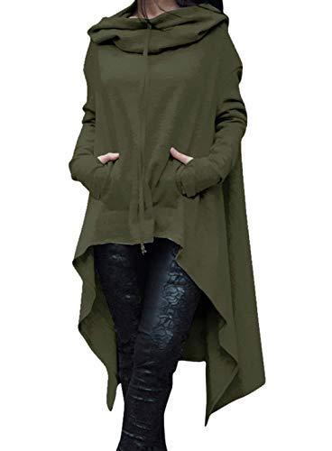 Invernali Felpa Lunga con Felpe Vestiti Irregular Size Plus Swag Hoodie Glamorous Semplice Donna Cappuccio Moda Alto Puro Autunno Gr Colore Eleganti Felpe Vestito Basso HaiDean Streetwear BqExdwXvv