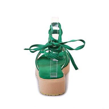 LvYuan Mujer-Tacón Plano-Otro-Sandalias-Oficina y Trabajo Vestido Informal-Vellón-Negro Naranja Almendra Green