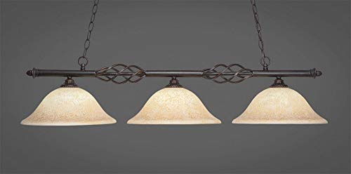 (Toltec Lighting 866-DG-528 Eleganté - Three Light Island, Dark Granite Finish with Italian Marble Glass)