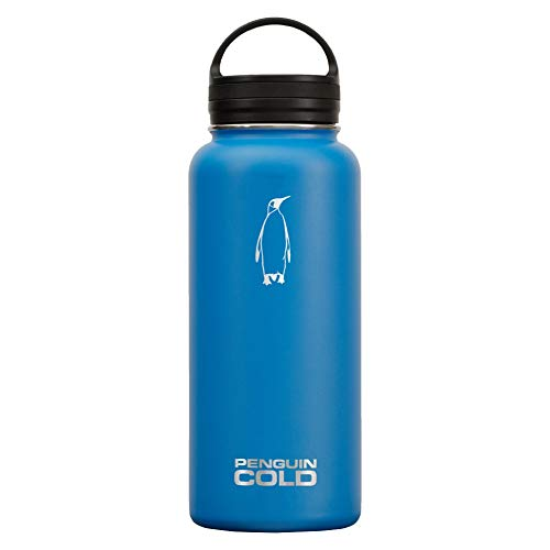 (Penguin Cold Insulated Water Bottle | 32oz Wide Mouth Stainless Steel Water Bottle | BPA-Free, Tripple-Insulated, 18/8 Stainless Steel (Blue))