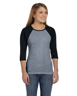 Bella+Canvas Ladies' Baby Rib 3/4-Sleeve Contrast Raglan Tee - Deep Heather/ .