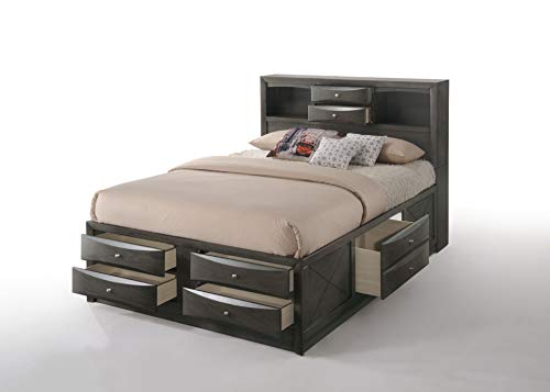 Queen Storage - ACME Furniture  Ireland Storage Bed, Queen, Gray Oak