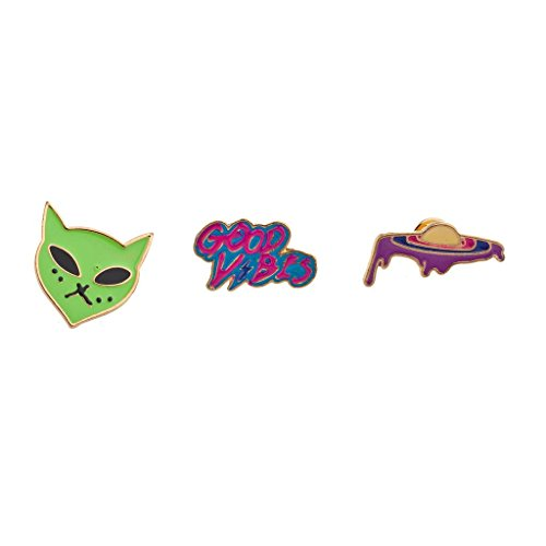 Lux Accessories Outerspace Alien Spaceship Good Vibes Enamel Pin Brooch Set(3pc) from Lux Accessories