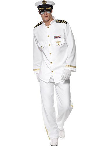 Naval Uniform (Smiffys Men's Captain Deluxe Costume with Jacket Trousers Cap and Gloves, White, Medium)
