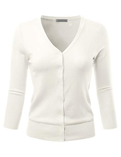 EIMIN Women's 3/4 Sleeve V-Neck Button Down Stretch Knit Cardigan Sweater Ivory L