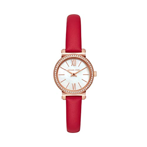 Michael Kors Women's Sofie Stainless Steel Quartz Watch with Leather Strap, Red, 10 (Model: MK2850) (Red Michael Kors Watch Men)