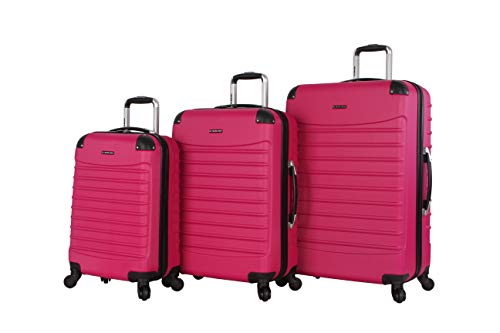 Ciao Luggage Voyager 3 Piece Hardside Spinner Suitcase Set Collection (Voyager Rose Pink)