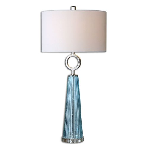 Ribbed Seeded Blue Glass Table Lamp Elegant -