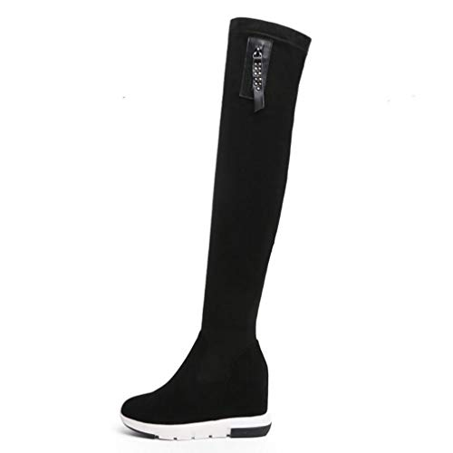 Winter Women Over The Knee High Heel Boots Fur Real Leather Zipper Concise Footwear Shoes