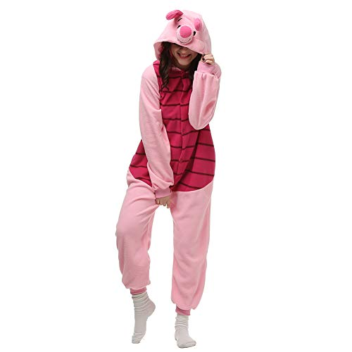(Unisex Adult Onesie Animal Cosplay Piglet Costume for Halloween Xmas,M/L)