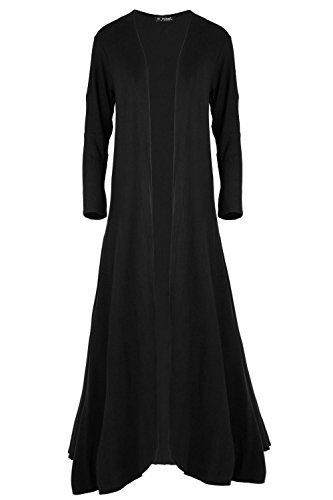 Womens Ladies Plain Open Front Floaty Waterfall Oversized Baggy Maxi Cardigan