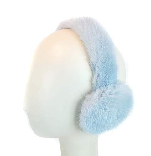 Surell Mink Earmuff with Fur Halo Band - Winter Ear Muffs - Cold Weather Fashion (Light Blue)