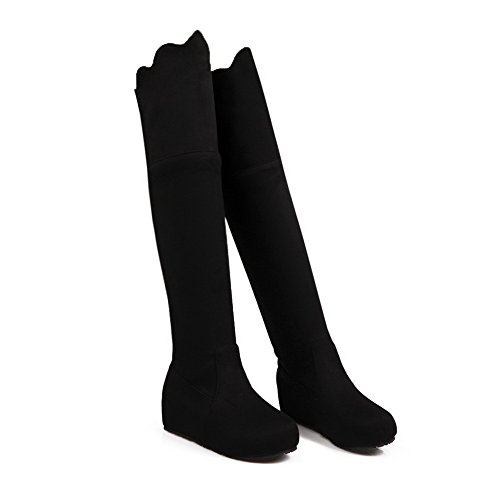Allhqfashion Women's Pull-on Round Closed Toe Kitten-Heels Imitated Suede High-top Boots Black Yf6Xy3