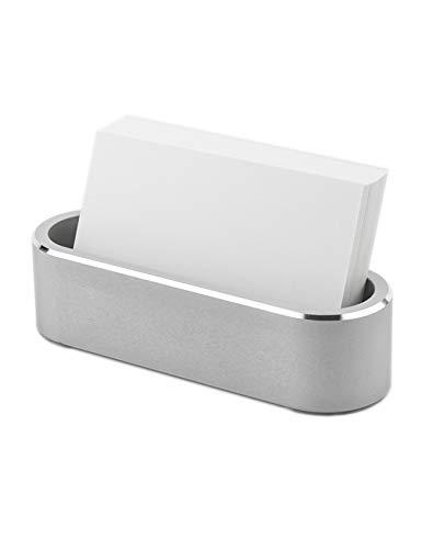 Aluminum Business Card Holder Display Office Business Card Stand Name Card Display Organizer for Desk (Silver)