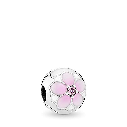 Flower Sterling Silver Clip - PANDORA Magnolia Bloom Clip Charm, Sterling Silver, Pale Cerise Enamel & Pink Cubic Zirconia, One Size