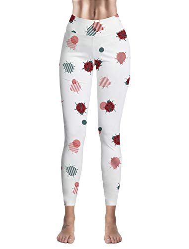 Custom Leggings Women High Waist Soft Yoga Workout Stretch Printed Ladybug Stretchy Capris Pants