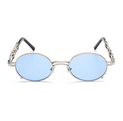 Vintage Argent ovales Keephen Steampunk soleil polarisé métal Bleu Non lunettes Fashion en Classique de U577wxqC