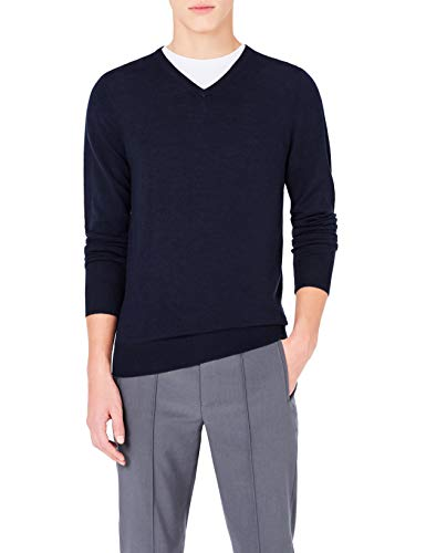 Meraki Men's Fine Knit,  Merino Wool,  Slim Fit,  V-Neck Sweater,  Blue (Navy), XXL (US ()