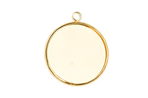 Round Bezel Cup 14K Gold Finished With Serrated Edge Fits 27mm Cabochons Or Photos Or Flat-Backed Crystal sold per 4pcs