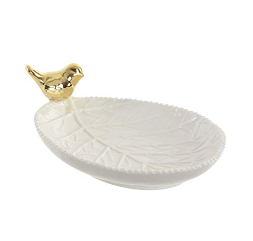 Item White Porcelain Leaf Trinket Jewelry Dish Ring Holder with Gold Bird Accent
