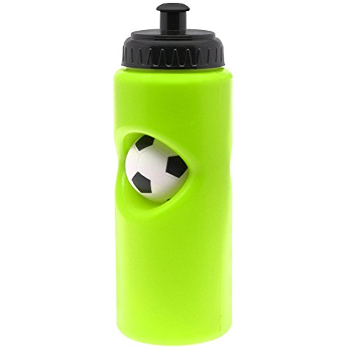 PP PICADOR Kids Squeeze Water Bottles with Leak Proof Push/Pull Lid BPA-Free (Green Soccer, 22oz) by PP PICADOR