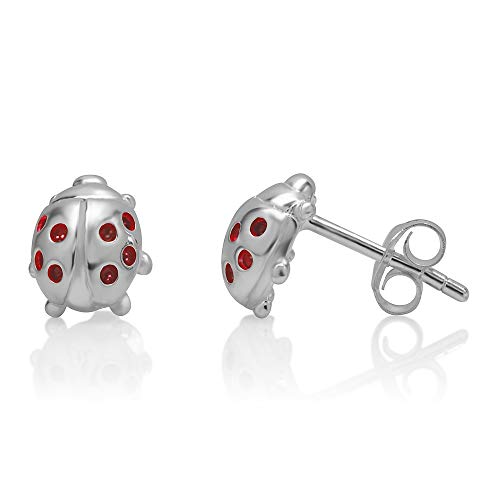 (925 Sterling Silver Red Little Lucky Ladybug 10 mm Post Stud Earrings)