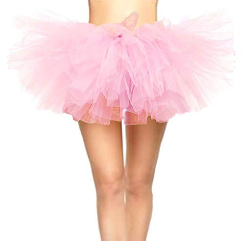Ballerina Costume For Women (CahcyElilk Women's Cute Sweet Pink Tutu Mini Puffy Halloween Girls Birthday Photography Pig Costume Table Decoration Ballerina Ballet Light Pink)