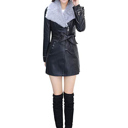 Price comparison product image Ashley Lauren Mia Pu Leather Jacket Winter Fashion Women's Slim Clothing Zipper Black