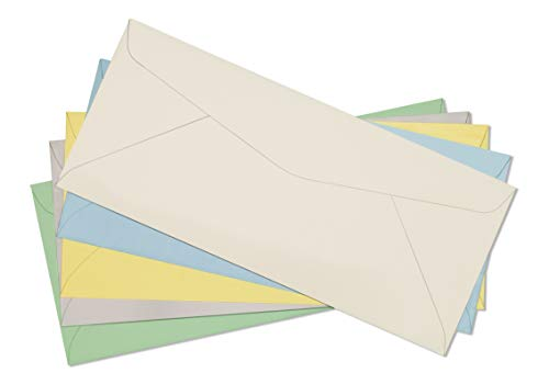 # 10 Business Envelopes Pastel Color -Assorted Pack Green Grey Yellow Cream Blue Standard Flap - 4 1/8 x 9-1/2 Inch -Pack of 50 (Assorted 10 Colored Envelopes)