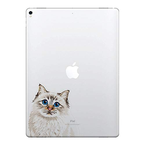 FINCIBO 5 x 5 inch Cute Seal Lilac Tabby Point Birman Cat Removable Vinyl Decal Stickers for iPad MacBook Laptop (Or Any Flat Surface)