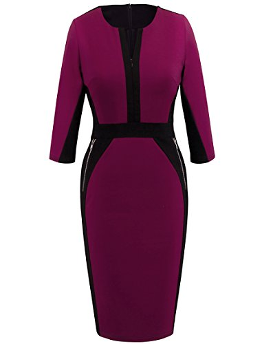 Homeyee Stretch Tunic Pencil Sheath Dress U837 (10, Carmine) (Pencil Dress Detail)