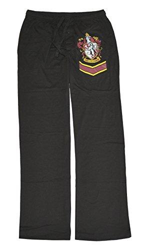 Harry Potter Gryffindor Crest Adult Black Lounge Pants (Small) (Potter Harry Pants)