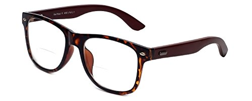Calabria Vintage Wayfarer Clear Bi-Focal Designer Reading Glasses with Real Wood, Tortoise - Glasses Nerdy Reading