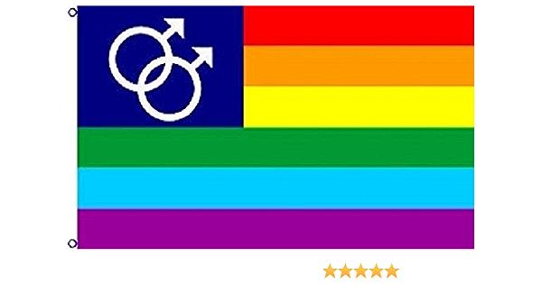 Double Mars male  rainbow american flag 3ft  x 5ft Gay Pride Rainbow Flag