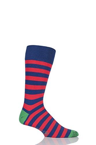 Two Tone Striped Socks (Mens 1 Pair Corgi Lightweight Cotton Two Tone Block Striped Socks Navy)