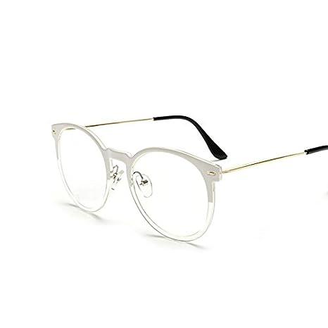 Tocoss (TM) haute qualité Lunettes de soleil Homme Femme ronde en métal Cadre Lunettes de soleil Male femelle Transparent Miroir Eyewear Marque Designer vœux, blanc