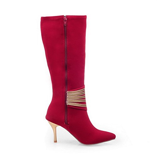 Red Pointed Boots Top WeenFashion Closed Solid Zipper Mid Heels High Toe Women's 1qAq4wO