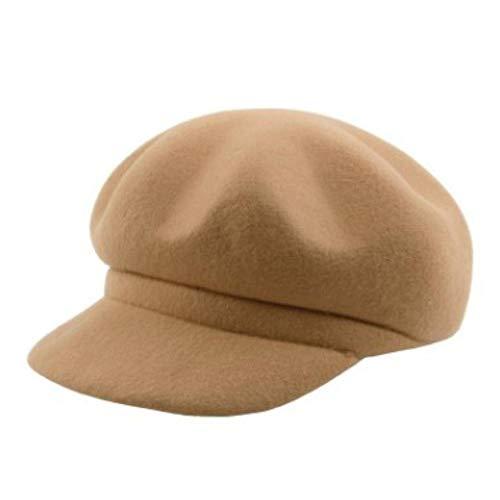 Women's Autumn Hat 100% Wool Newsboy Caps Warm Thick Beret for Women (Dark Khaki,57-58cm)