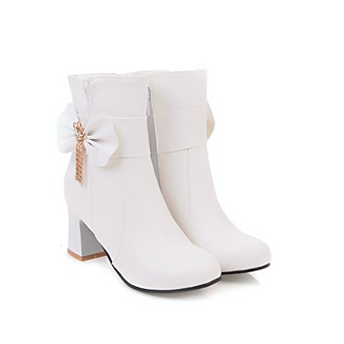 UK A Toe Womens Bows Urethane 4 5 AN Boots Round Waterproof White Zip amp;N xO6Fq0wp
