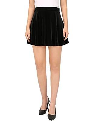 HDE Women's Vintage Velvet Flared Pleated A-Line Circle Mini Skater Skirt