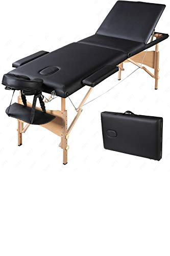 Portable Folding Massage Table 84″ – Professional Comfort Facial SPA Beauty Tattoo Bed – With Gift Carry Case – Black – Bonus Exclusive eBook