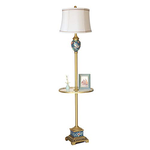 LEGELY French Painted Design Metal Floor lamp, Beige Cloth Shade,Glass Coffee Table Vertical Living Room Bedroom Bedside lamp E27 Black French Floor Lamp