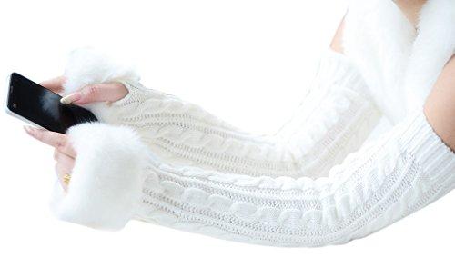 農業長いですバリー(Baoxinjp) 秋冬 レディース手袋 可愛い ニット グローブ 指開き スマホ対応 運転対応 防寒 フェイクファー ロンググローブ 55CM ホワイト