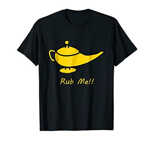 Genie Lamp Rub Me funny naughty T-Shirt fantasy tee 3 wishes