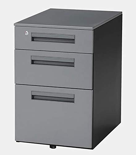 Steel Mobile Filing Cabinet - Filing Cabinet with 3 Locking Drawers - Gray