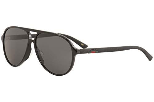 Gucci GG 0423SA 001 Black Plastic Aviator Sunglasses Grey Lens 001 Black Plastic Sunglasses